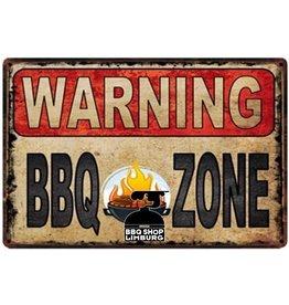 Metalen wandbordje - Warning BBQ Zond 20x30cm