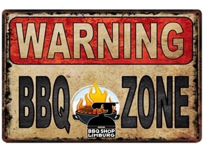 Metalen wandbordje - Warning BBQ Zone 20x30cm