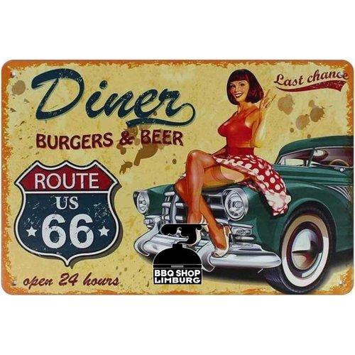 Metalen wandbordje - Diner burgers & beer 20x30cm