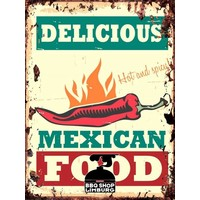 Metalen wandbordje - Delicious Mexican Food 20x30cm