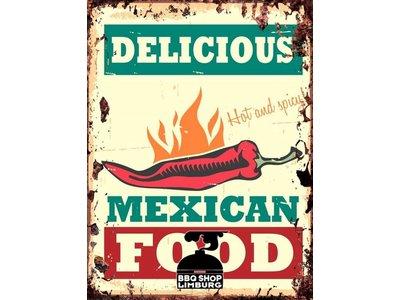 Metalen wandbordje - Delicious Mexican Food 20x30cm
