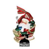 Big Green Egg Kerstbal - Santa op slee