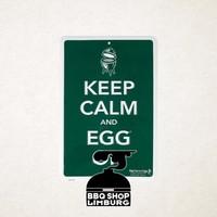 Big Green Egg metalen wandbord - Keep Calm & Egg On