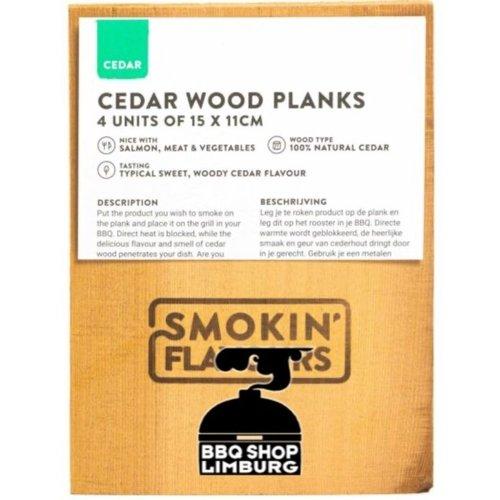 Smokin' Flavours Smokin' Flavours Ceder BBQ plank 11x15x1cm 4st