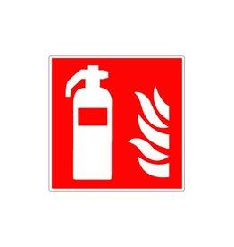 Brandblusser met vlammen sticker