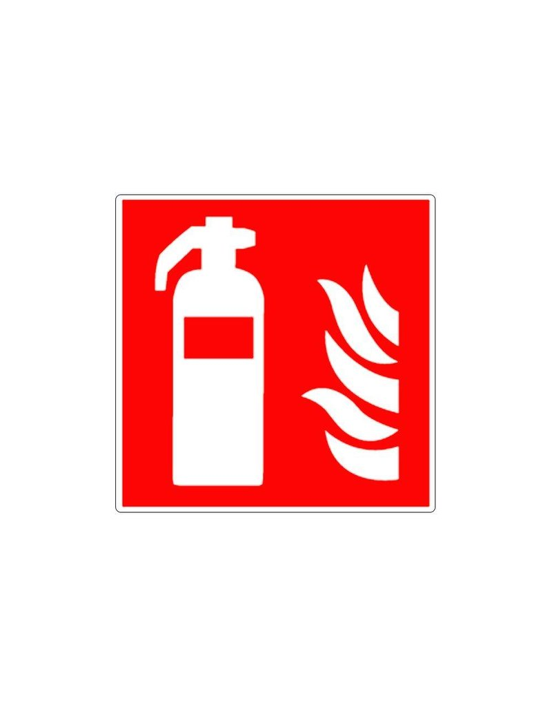 Brandblusser met vlammen pictogram sticker
