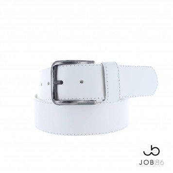 JOB86 Brede lederen jeans riem | Wit