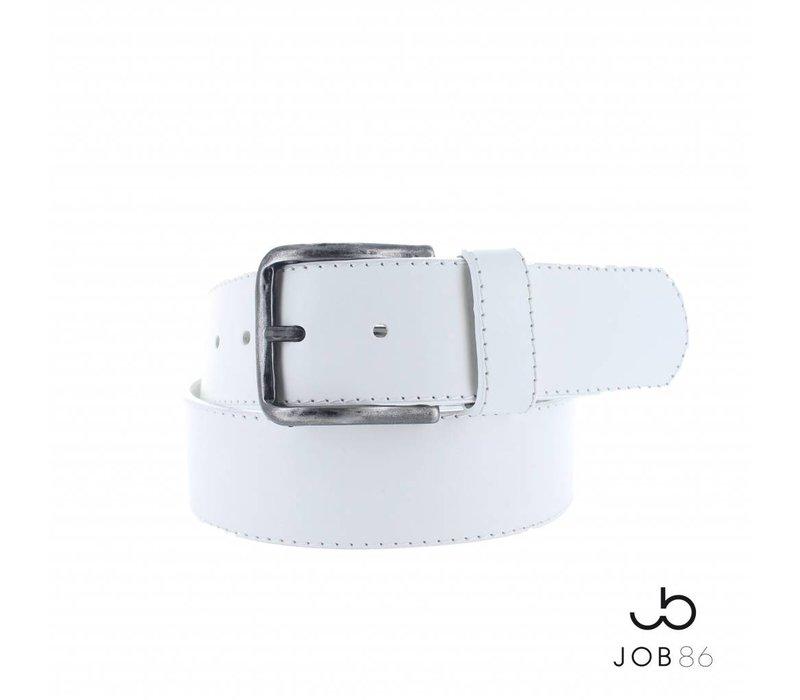 Brede lederen jeans riem | Wit