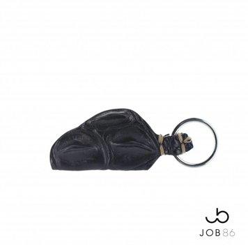 JOB86 Exclusieve sleutelhanger | Krokodillenleer | Zwart