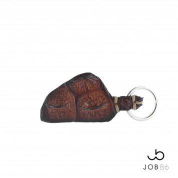 JOB86 Exclusieve sleutelhanger | Krokodillenleer | Cognac
