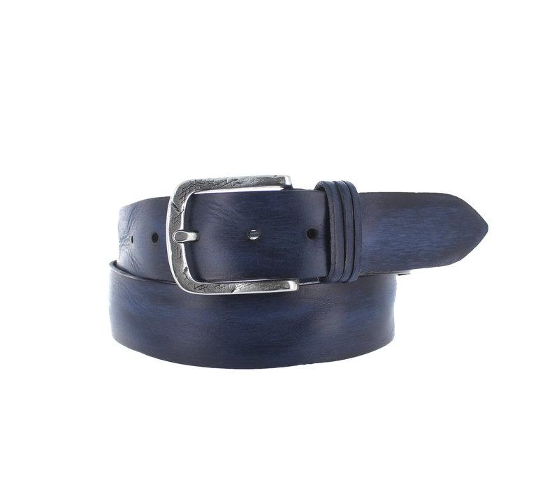 Nero | Lederen jeans riem | Blauw