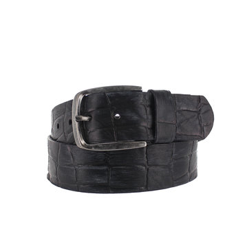 JOB86 Enrico | Zwarte jeans riem  | Kroko