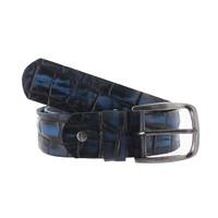 Enrico | Blauwe jeans riem  | Kroko