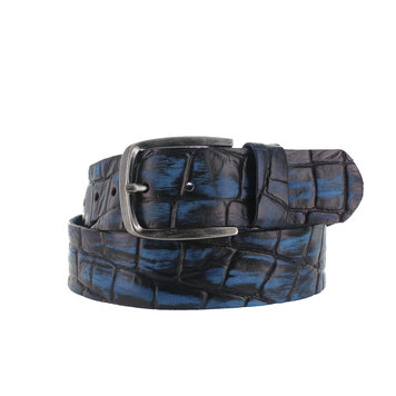 JOB86 Enrico | Blauwe jeans riem  | Kroko