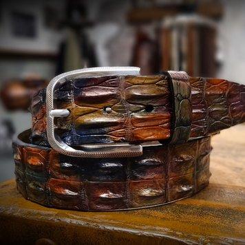 JOB86 Handpainted krokodillen riem | Multi