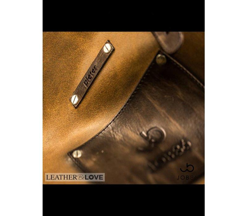 Leren BBQ schort | Kookschort | Cognac