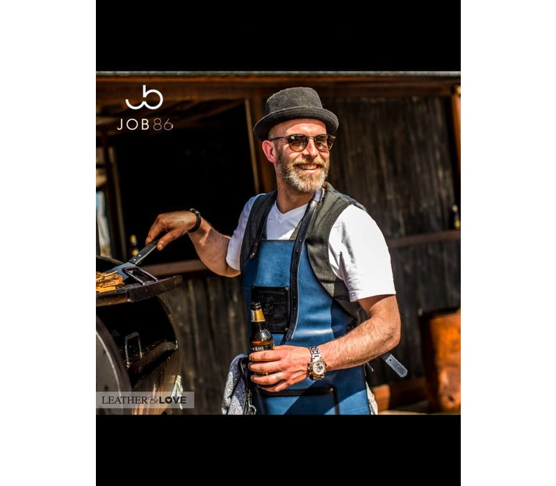 Lederen BBQ schort | Kookschort | Blauw