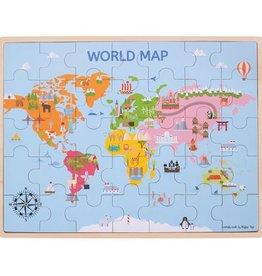 Bigjigs Puzzel Wereldkaart 3+