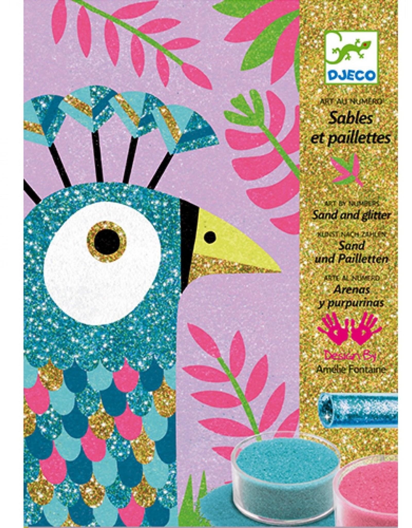 Djeco Zand en Glitter Oogverblindende Vogels