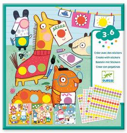 Djeco Creëer met Stickers Dieren Dots