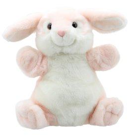 Handpop Cuddly Konijn Roze Wit