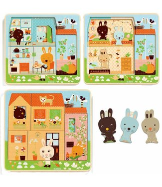 Djeco 3 lagen puzzel carot rabbit