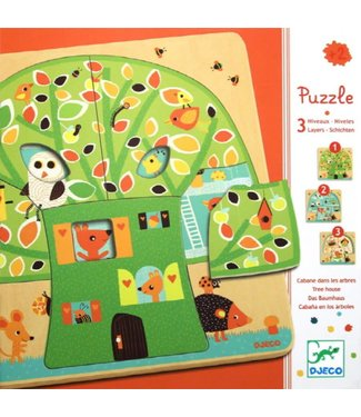Djeco 4 lagen puzzel Nut treehouse