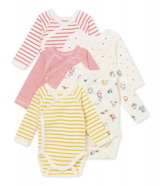 Petit Bateau Set of 5 newborn baby girls' long sleeved bodiesuits