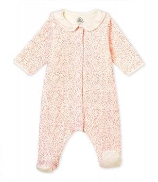 Petit Bateau Baby girl's Bodyjama in print cotton velour