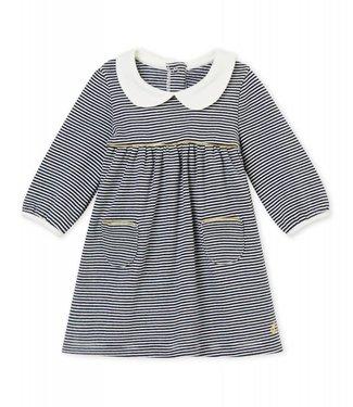 Petit Bateau Jurk met kraag en milleraies strepen voor babymeisjes
