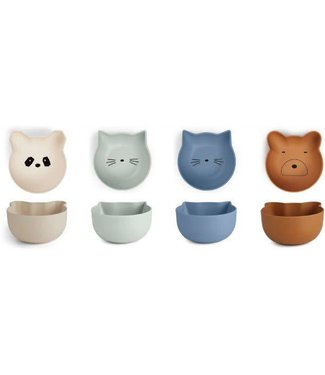 Liewood Rex snack bowl 4 pack blue mix