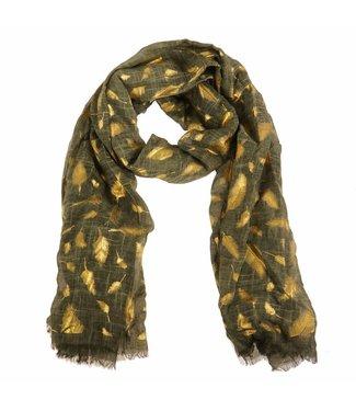 Sjaal groen/goud veer