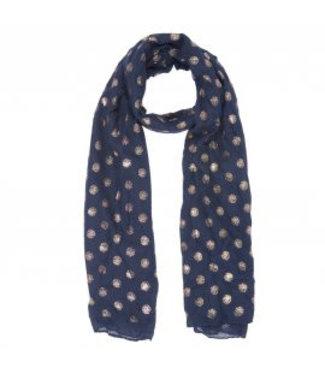 Sjaal navy/goud dots
