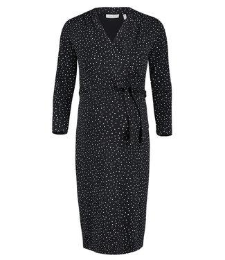 Queen Mum Dress ls Zwart Witte stip