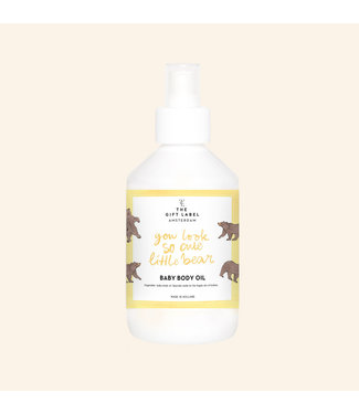 The gift label Baby body oil You look so cute little bear