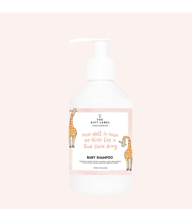 The gift label Baby Shampoo new doll in town