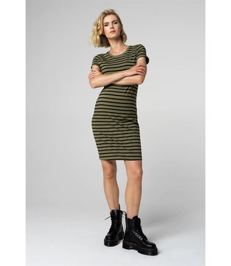 Supermom Dress ss Striped Olive