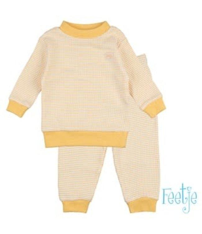 Feetje Wafel pyjama Okergeel