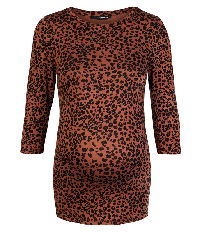 Supermom Tee 3-4 slv AOP Brown Leopard