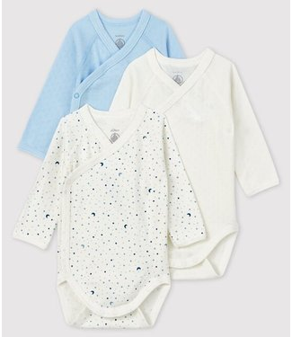 Petit Bateau Rompers 3 pack wit/ster/blauw