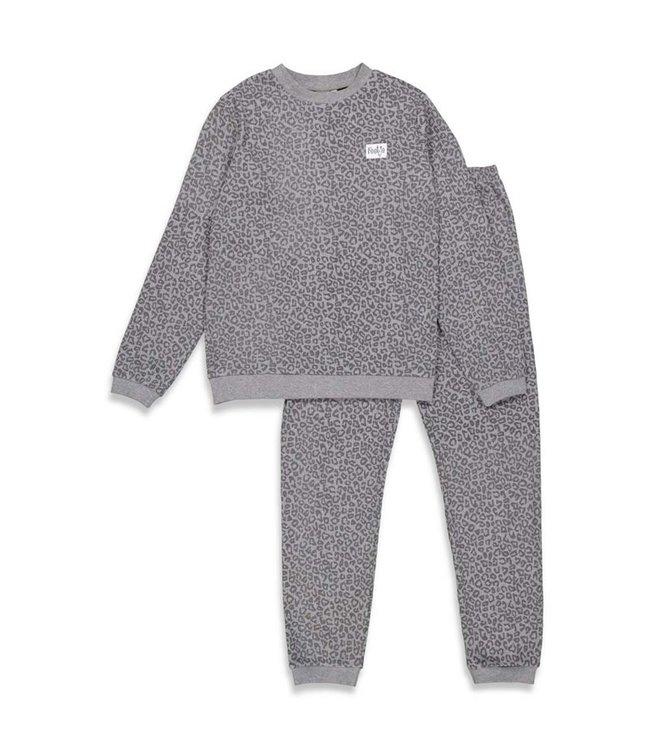Feetje Feetje Pyjama Volwassenen Leopard Fashion edition Antracite