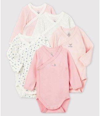 Petit Bateau 5 Bodies meisje roze/bloem