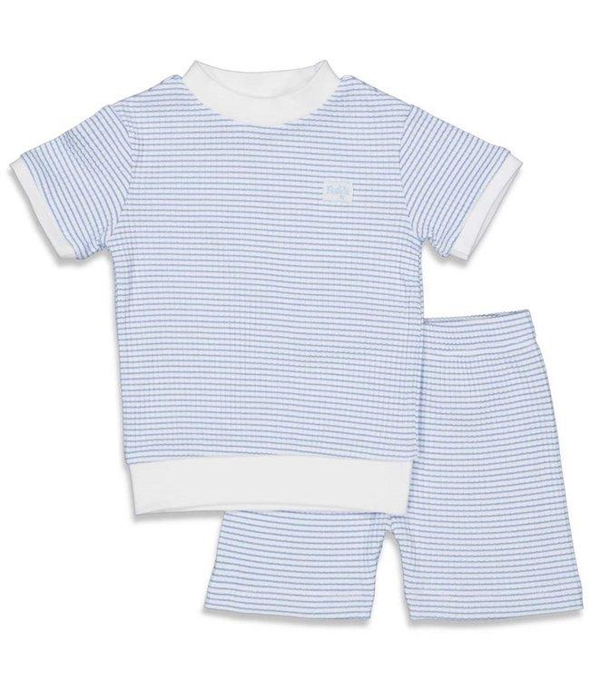 Feetje Wafel pyjama kort Blauw