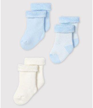 Petit Bateau 3 paar sokjes blauw