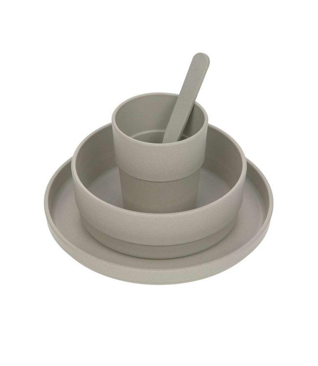 Dish set PP/cellulose Warm grey