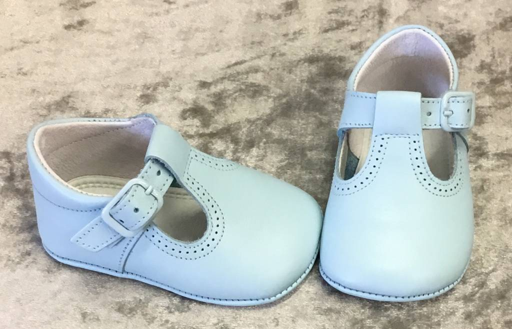leon Leon 3073 Blue Leather T Bar Pram Shoe