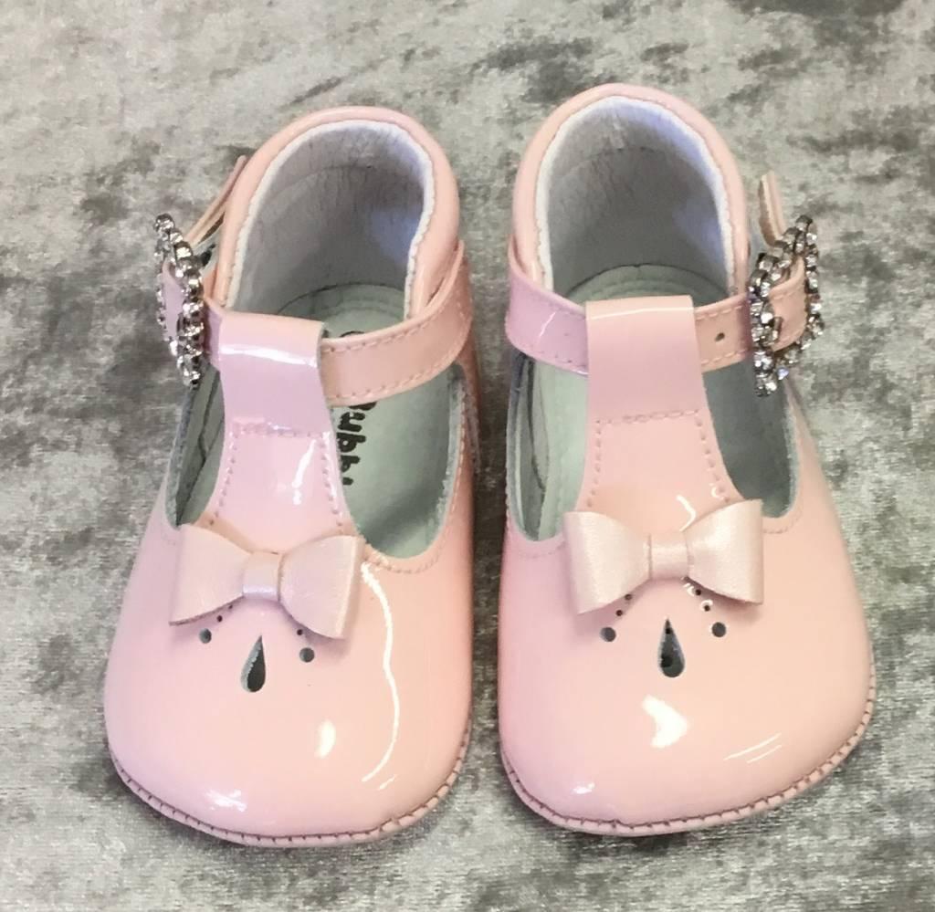 leon Leon T Bar Pram Shoe with Bow detail