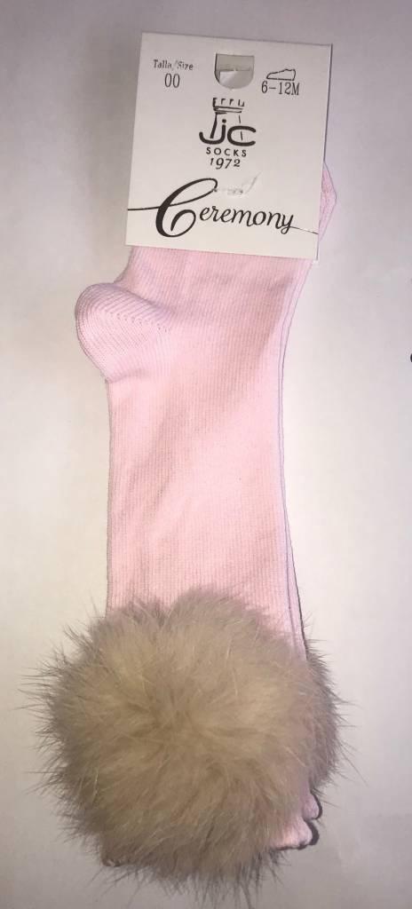 JC Socks JC Pink Pom Pom Knee High Socks