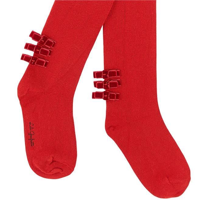 Lili Gaufrette Lili Gaufrette Red Bow Detail Tights