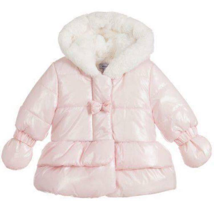 Absorba Absorba Pink Parka with fur trim hood